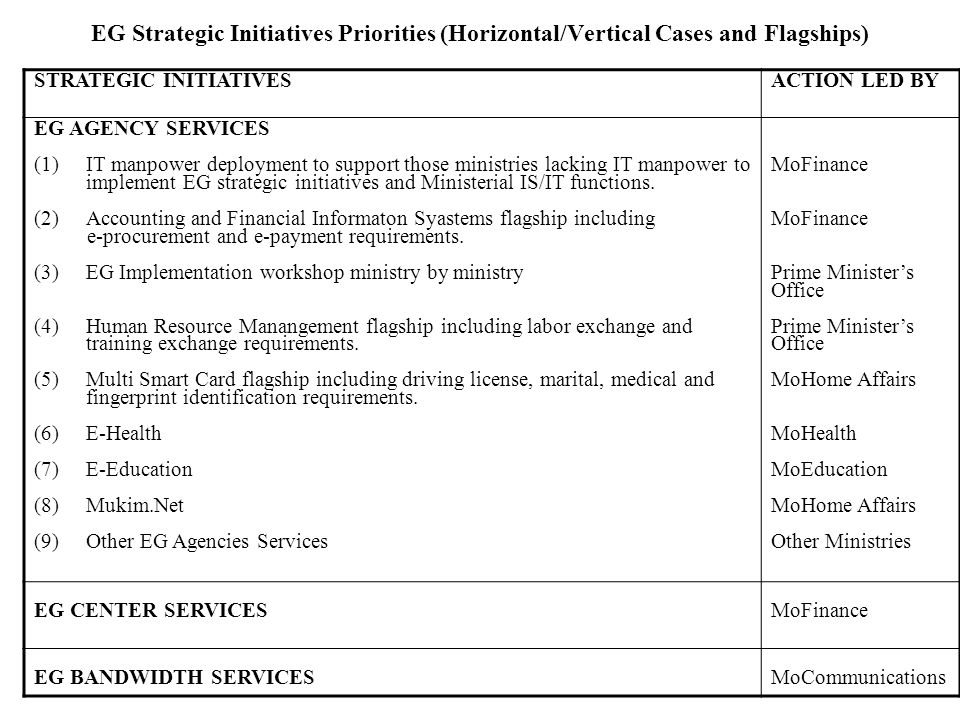 EG Strategic Initiatives Priorities (Horizontal/Vertical Cases and Flagships)