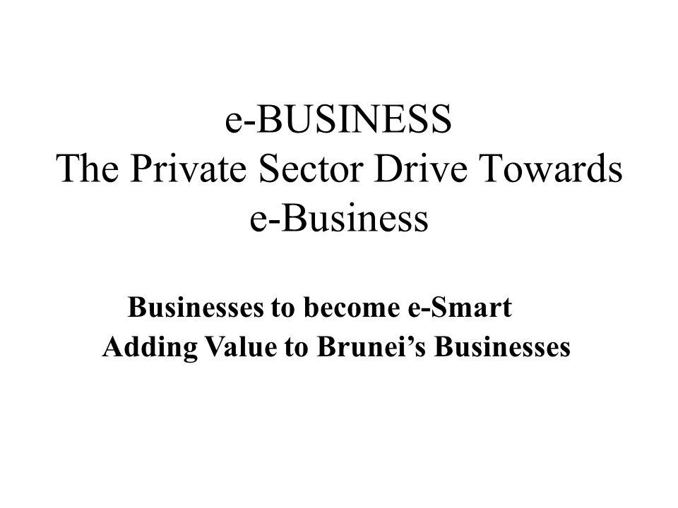 e-BUSINESS The Private Sector Drive Towards e-Business