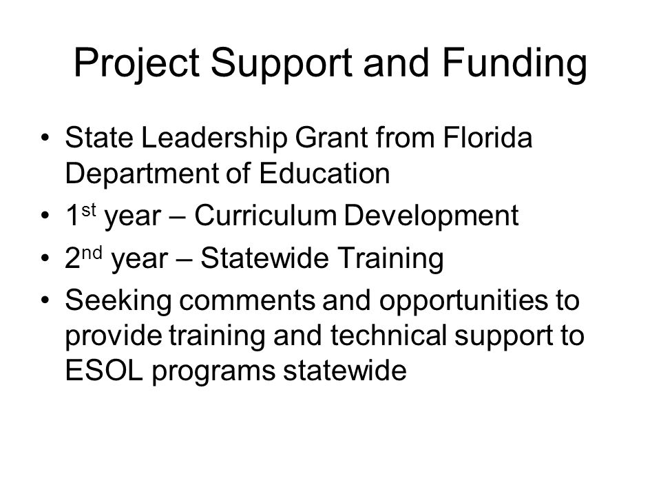Project Support and Funding