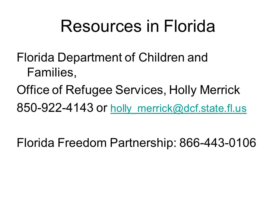 Resources in Florida Florida Department of Children and Families,