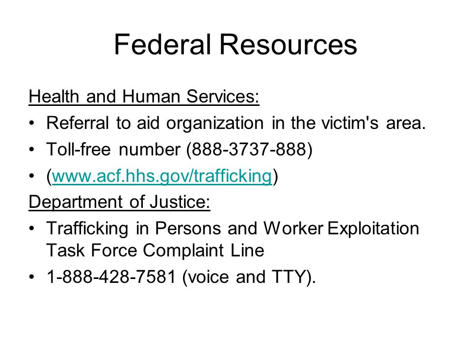 Federal Resources Health and Human Services: