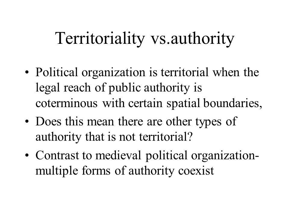 Territoriality vs.authority
