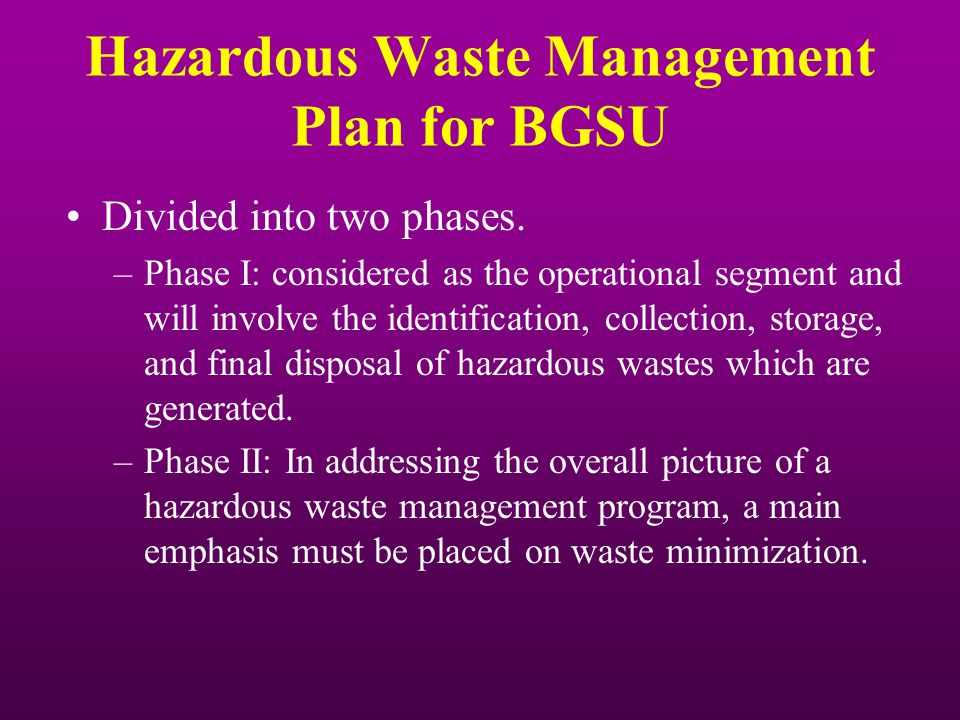 Hazardous Waste Management Plan for BGSU