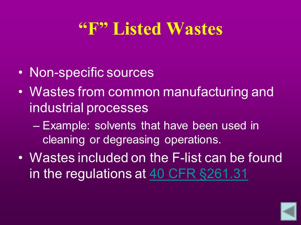 F Listed Wastes Non-specific sources