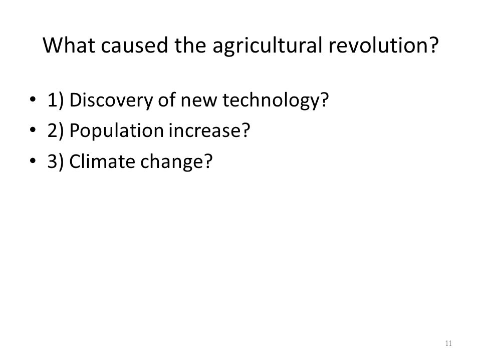 What caused the agricultural revolution