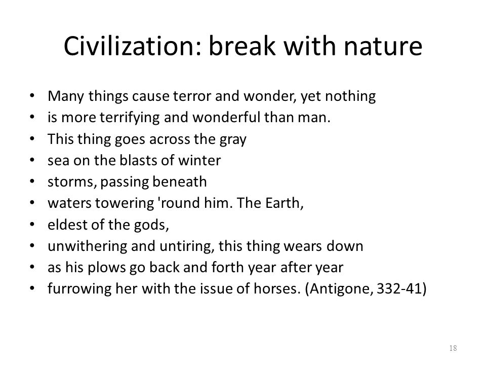 Civilization: break with nature
