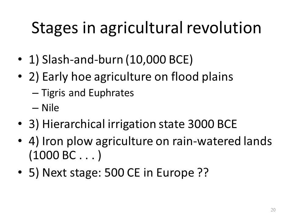 Stages in agricultural revolution