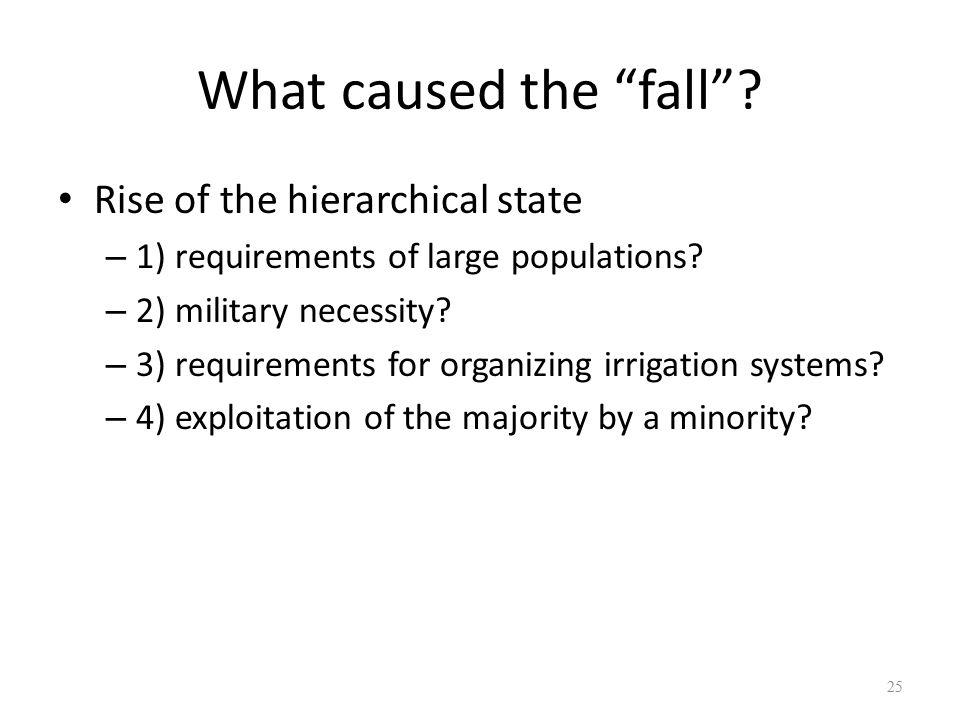 What caused the fall Rise of the hierarchical state