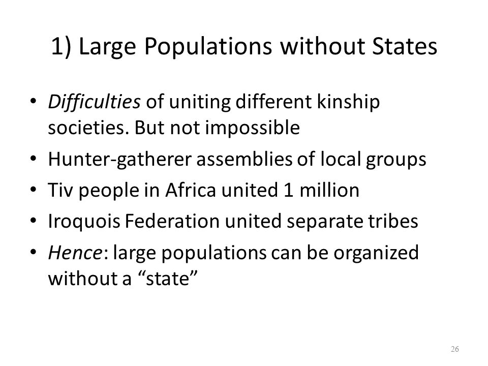 1) Large Populations without States