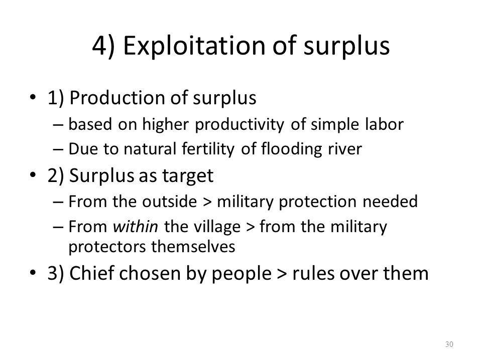 4) Exploitation of surplus