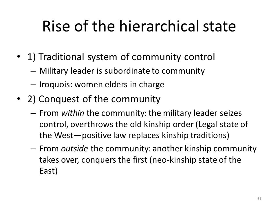 Rise of the hierarchical state