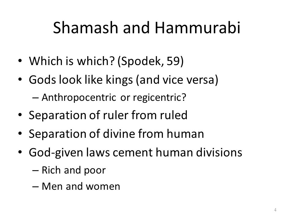 Shamash and Hammurabi Which is which (Spodek, 59)