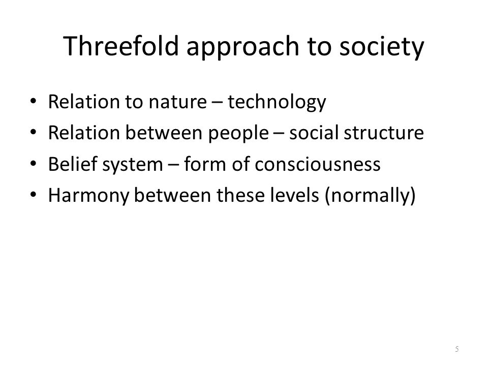 Threefold approach to society
