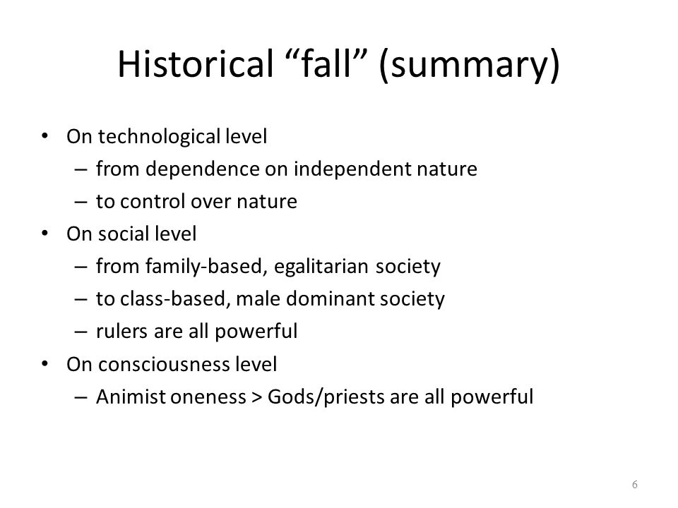 Historical fall (summary)