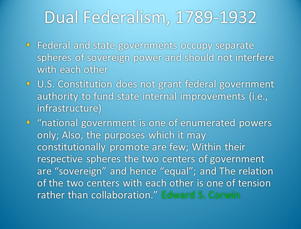 Dual Federalism, 1789-1932 Federal and state governments occupy separate spheres of sovereign power and should not interfere with each other.