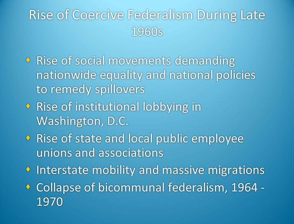 Rise of Coercive Federalism During Late 1960s