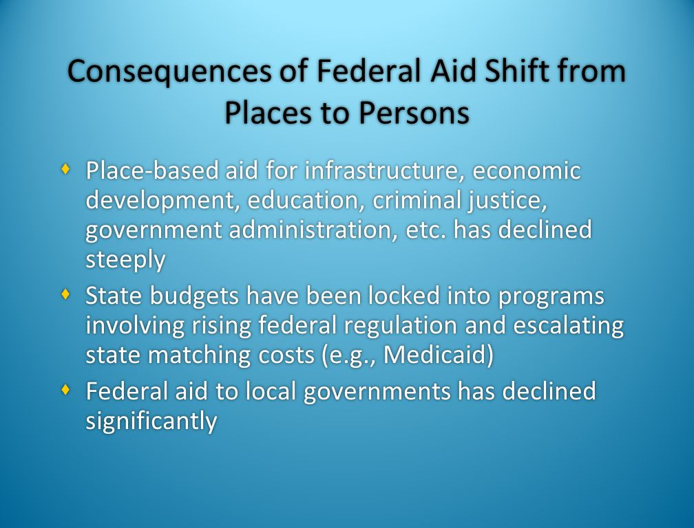 Consequences of Federal Aid Shift from Places to Persons