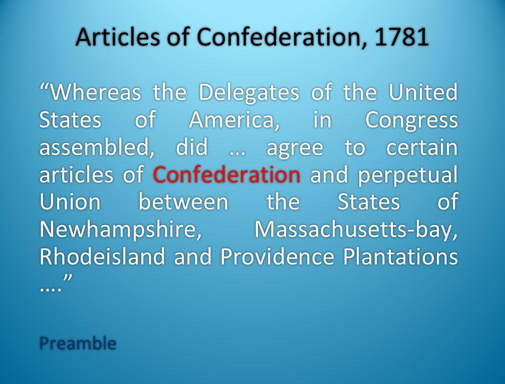 Articles of Confederation, 1781