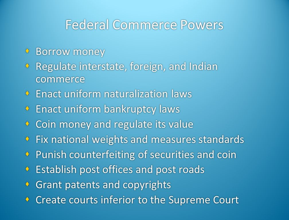Federal Commerce Powers