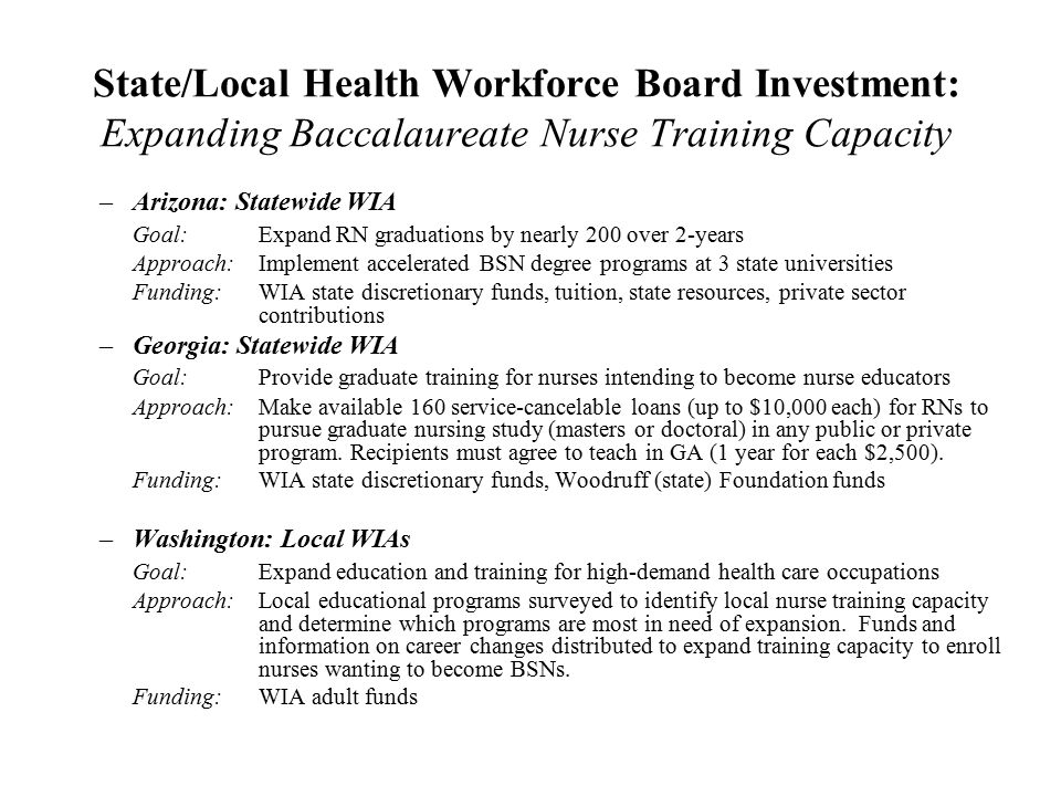 State/Local Health Workforce Board Investment: Expanding Baccalaureate Nurse Training Capacity