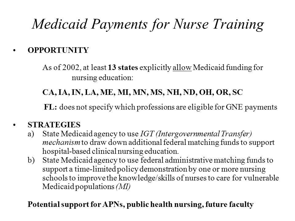 Medicaid Payments for Nurse Training