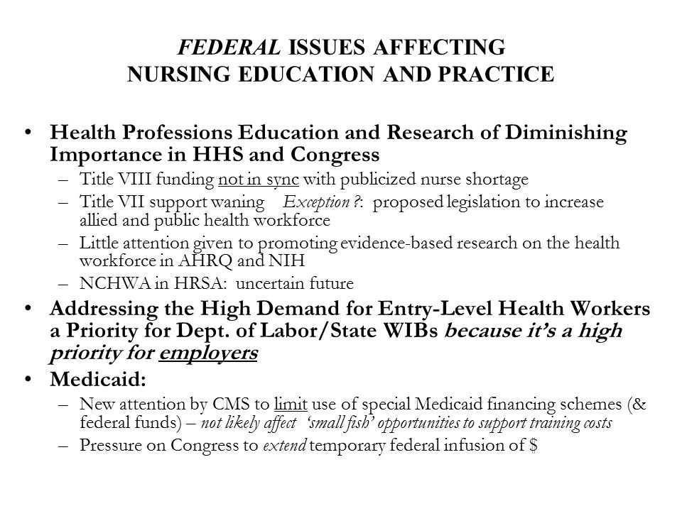 FEDERAL ISSUES AFFECTING NURSING EDUCATION AND PRACTICE