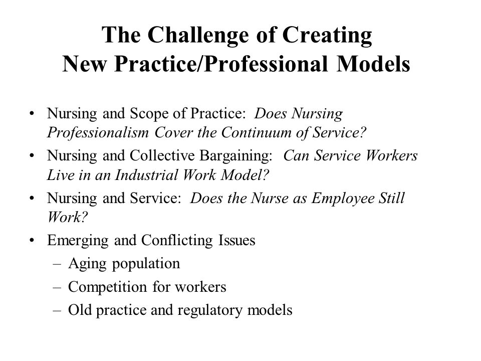 The Challenge of Creating New Practice/Professional Models