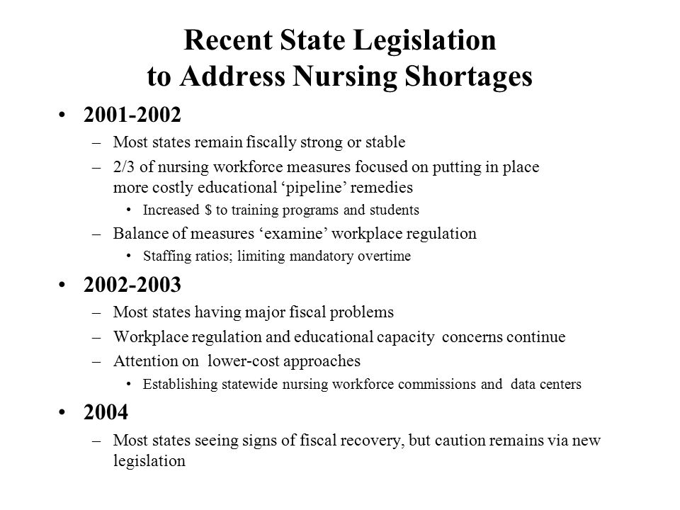 Recent State Legislation to Address Nursing Shortages