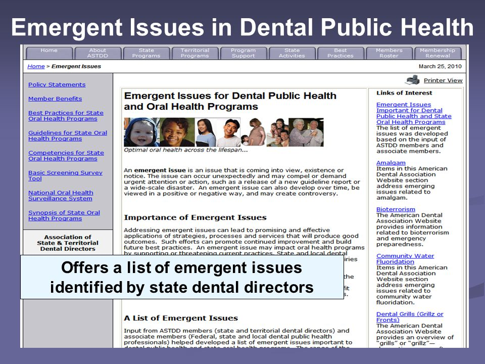 Emergent Issues in Dental Public Health