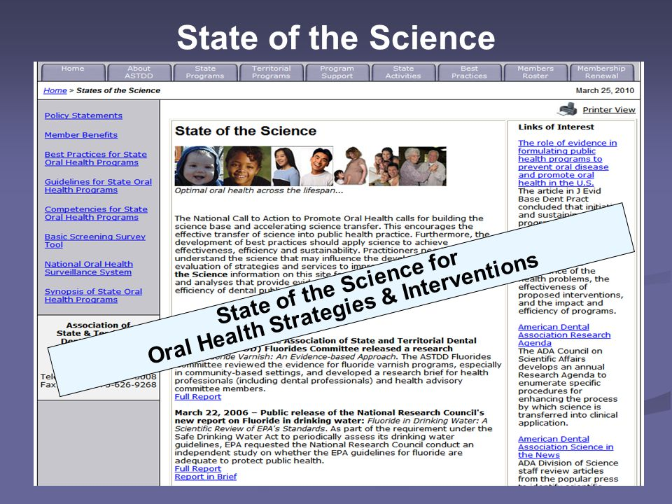 Oral Health Strategies & Interventions State of the Science for