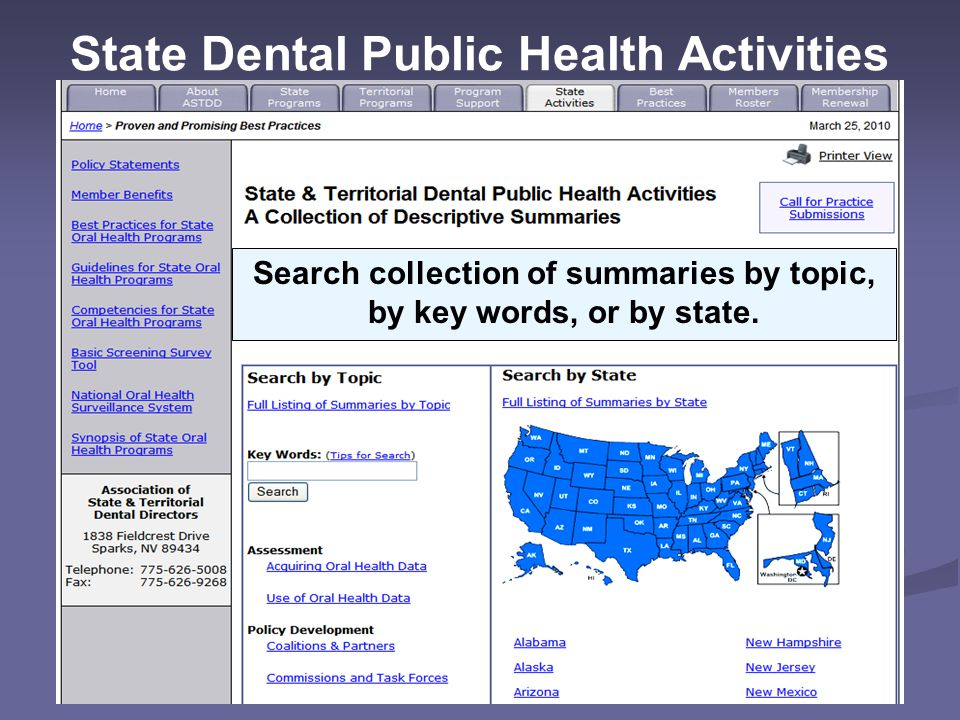 State Dental Public Health Activities