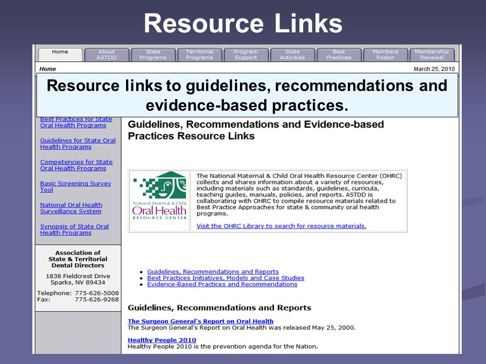 Resource Links Resource links to guidelines, recommendations and evidence-based practices. Slide: Successful Practice Example.
