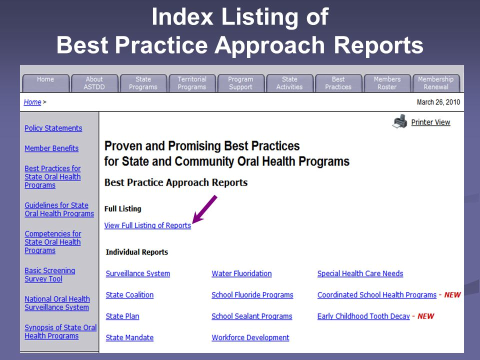 Index Listing of Best Practice Approach Reports