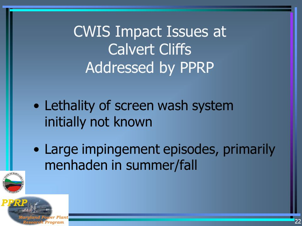 CWIS Impact Issues at Calvert Cliffs Addressed by PPRP
