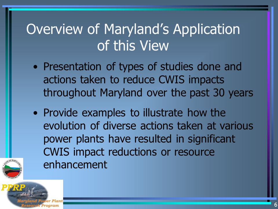 Overview of Maryland's Application of this View