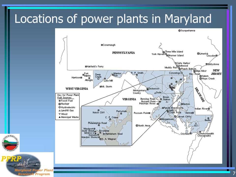 Locations of power plants in Maryland