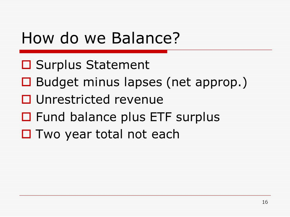 How do we Balance Surplus Statement Budget minus lapses (net approp.)