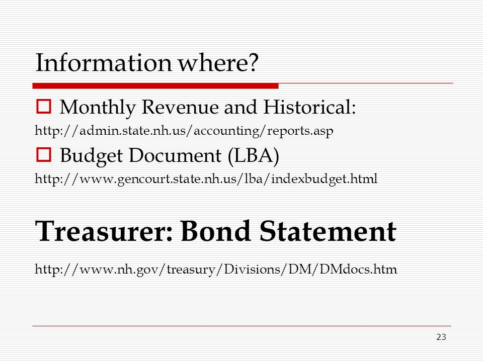 Treasurer: Bond Statement