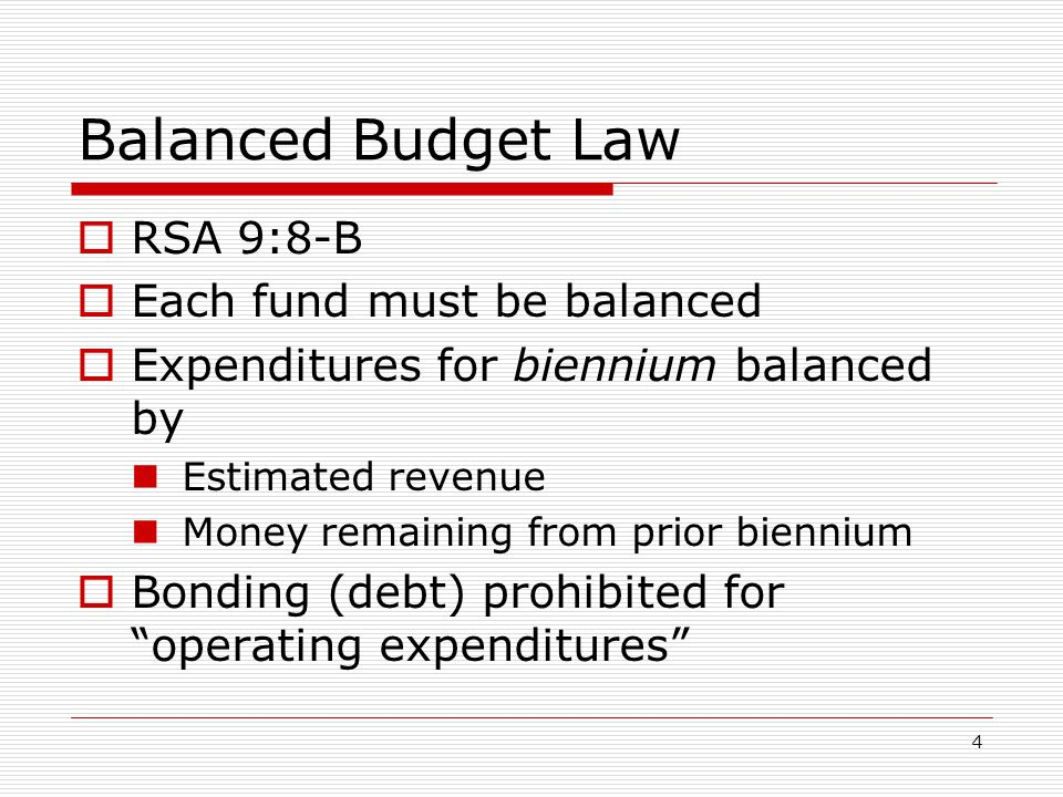 Balanced Budget Law RSA 9:8-B Each fund must be balanced
