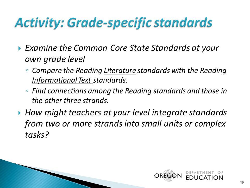 Activity: Grade-specific standards