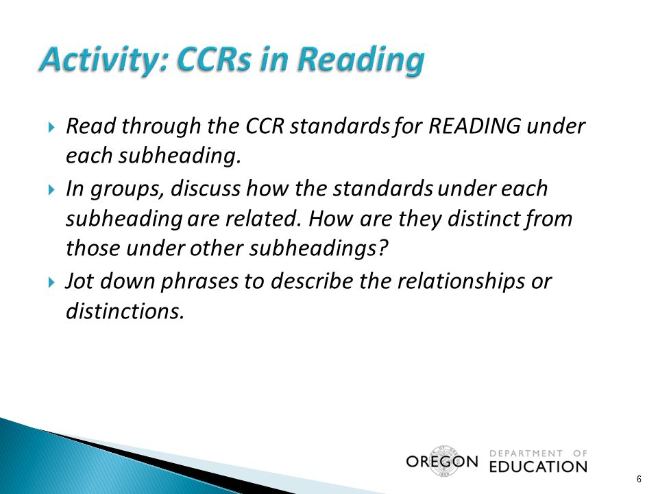 Activity: CCRs in Reading