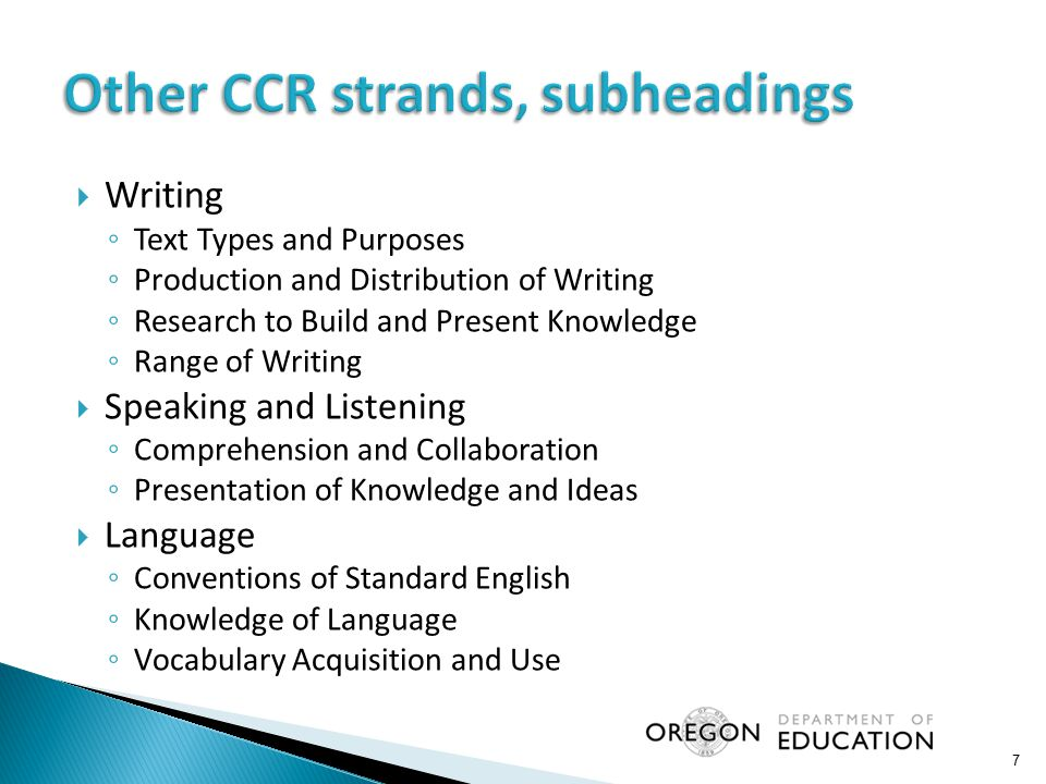 Other CCR strands, subheadings