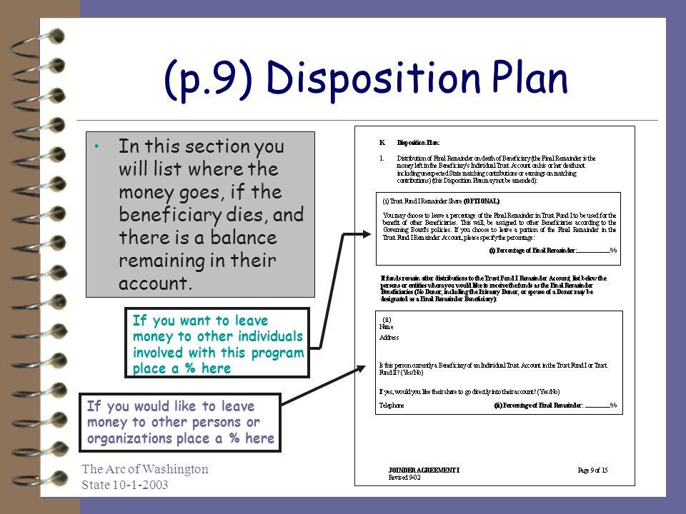 (p.9) Disposition Plan