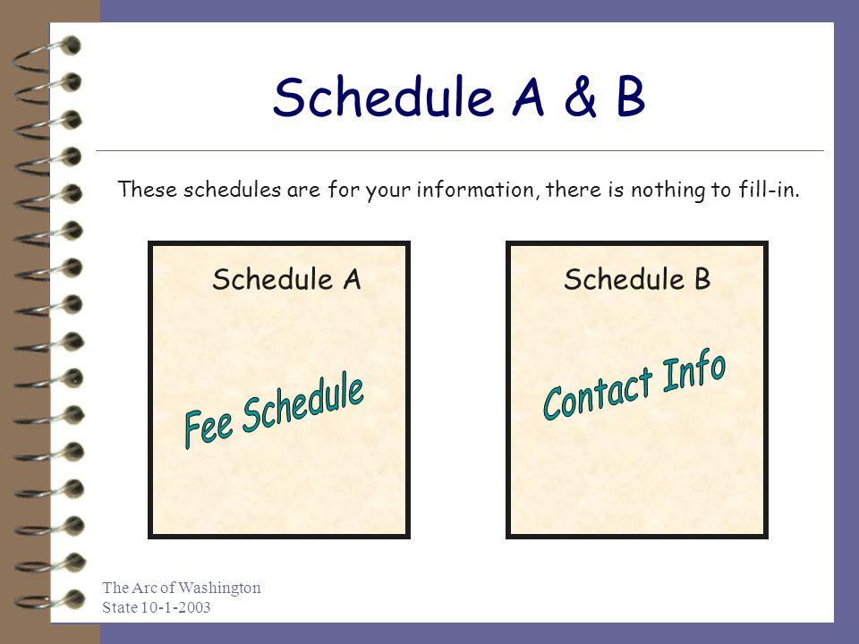 Schedule A & B Schedule A Schedule B