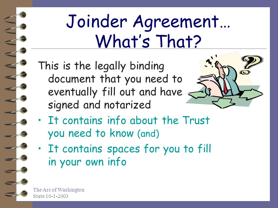 Joinder Agreement… What's That