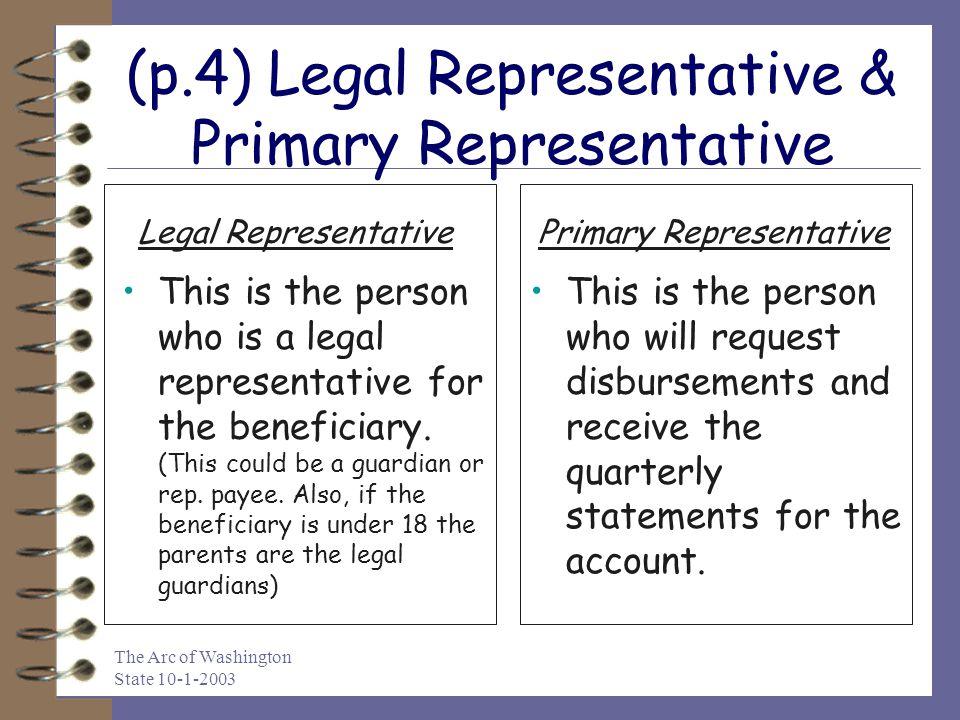 (p.4) Legal Representative & Primary Representative