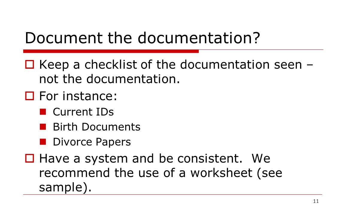 Document the documentation