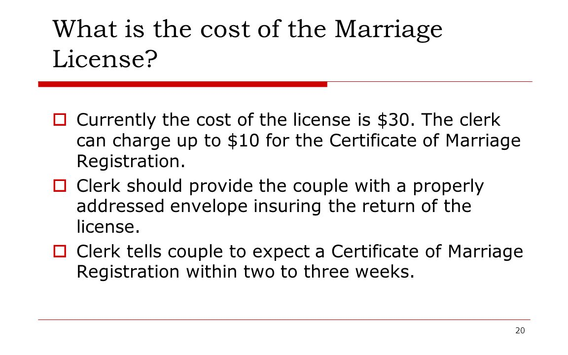 What is the cost of the Marriage License