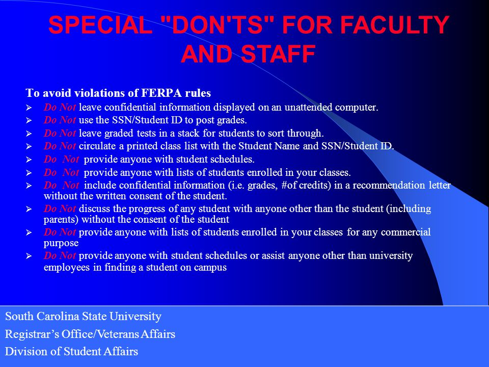 SPECIAL DON TS FOR FACULTY AND STAFF