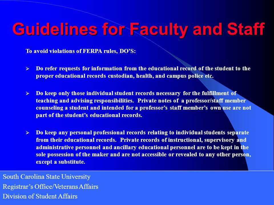 Guidelines for Faculty and Staff